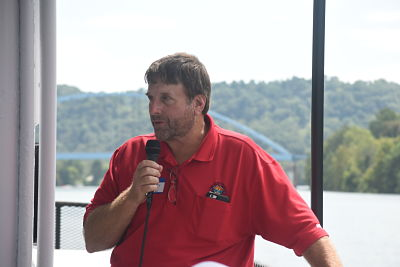 Executive Director Merry talks about the possible PTT ethane cracker plant during the OVOGA River Boat Tour.