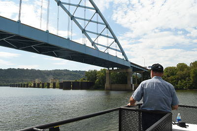 Just beyond the Moundsville Bridge, the future site of the proposed ethane cracker and the river pilings can be seen.